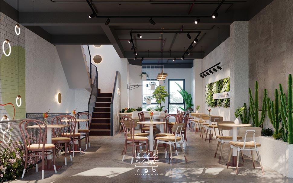 thiết kế quán cafe 3 tầng