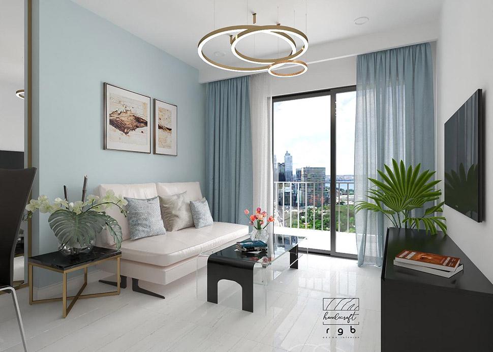 Phòng khách hiện đại trong căn hộ chung cư