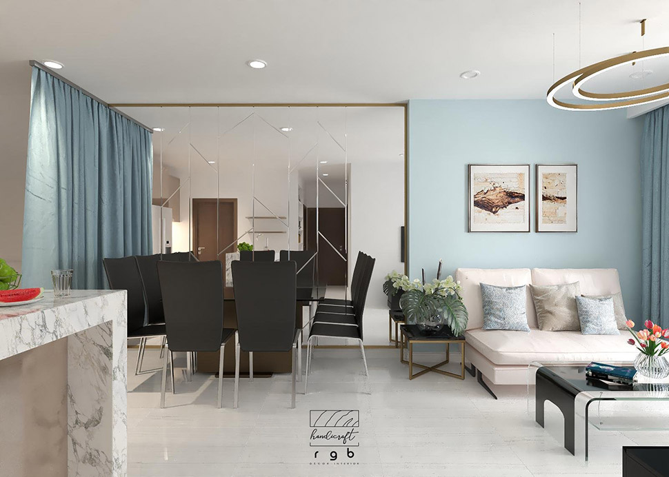 Thiết kế phòng khách liên thông nhà bếp đơn giản, hiện đại