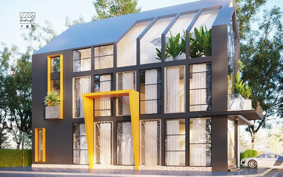 Phối cảnh mặt tiền công trình nhà phố hiện đại