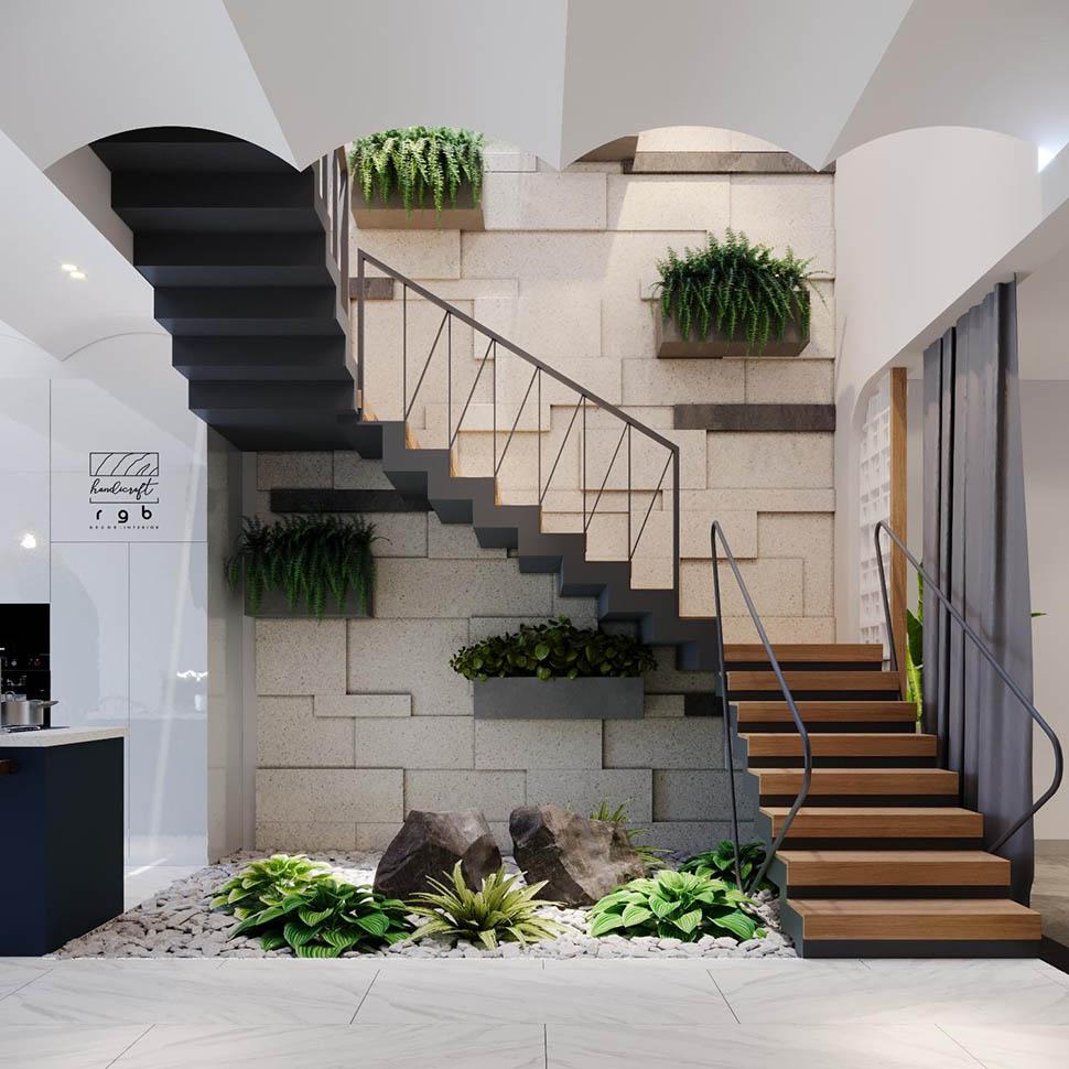 Cầu thang trong ngôi nhà ống