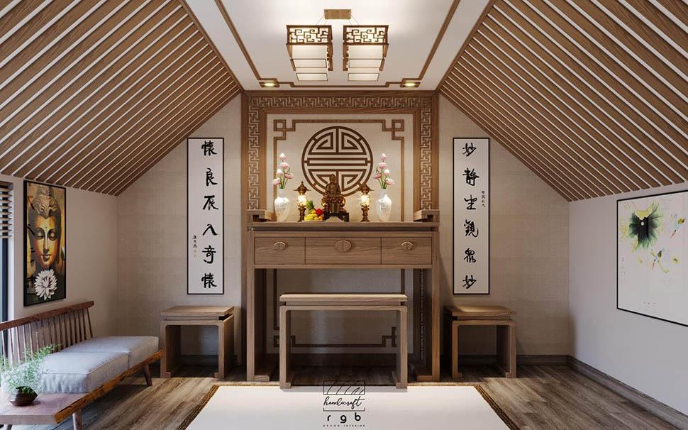 Nội thất phòng thờ nhà ống tân cổ điển