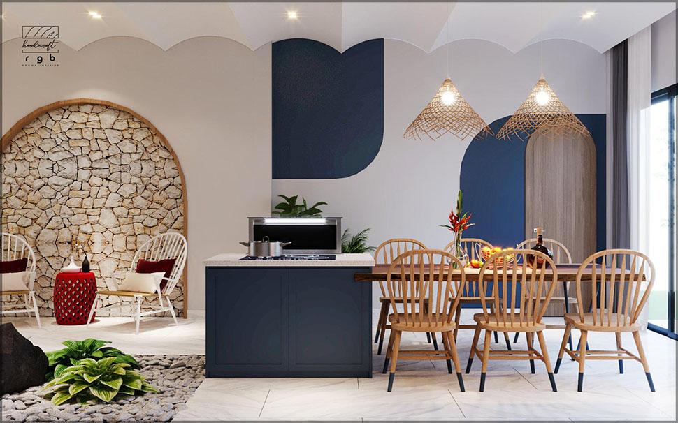 Phòng bếp ăn cạnh giếng trời