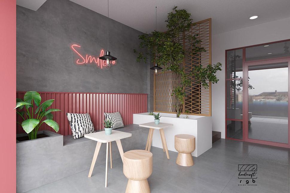 nội thất quán cafe màu hồng