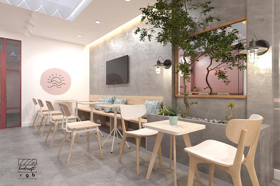 quán cà phê màu hồng