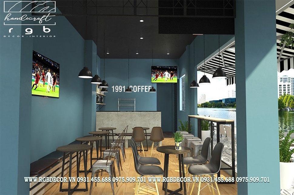 thiết kế quán cafe bóng đá