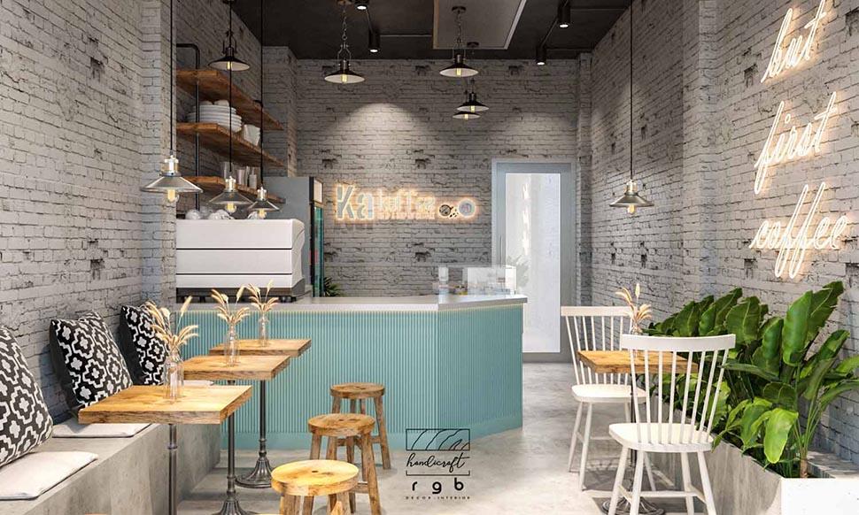 thiết kế quán cafe gỗ pallet