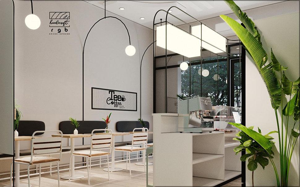 nội thất quán cafe nhỏ 40m2