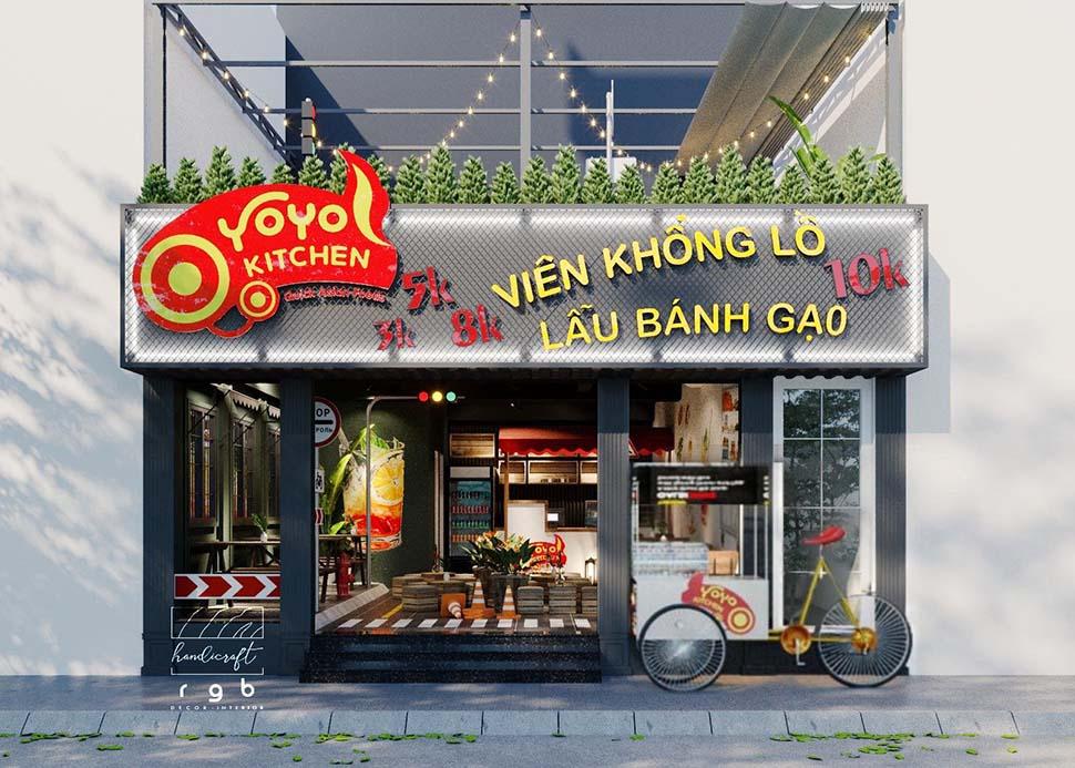 Mặt tiền quán đồ ăn nhanh hiện đại