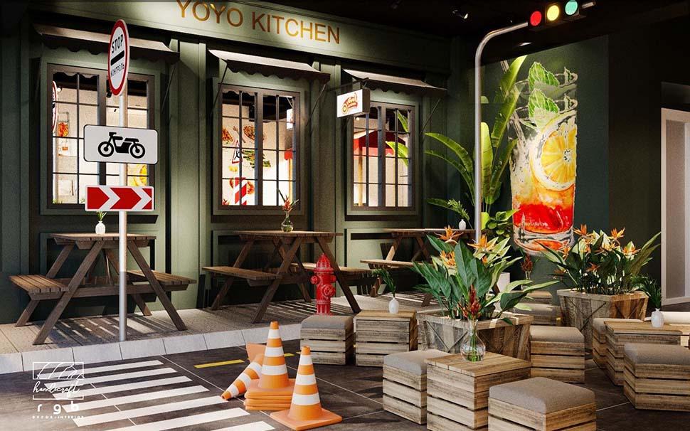 Không gian nội thất đơn giản của quán ăn