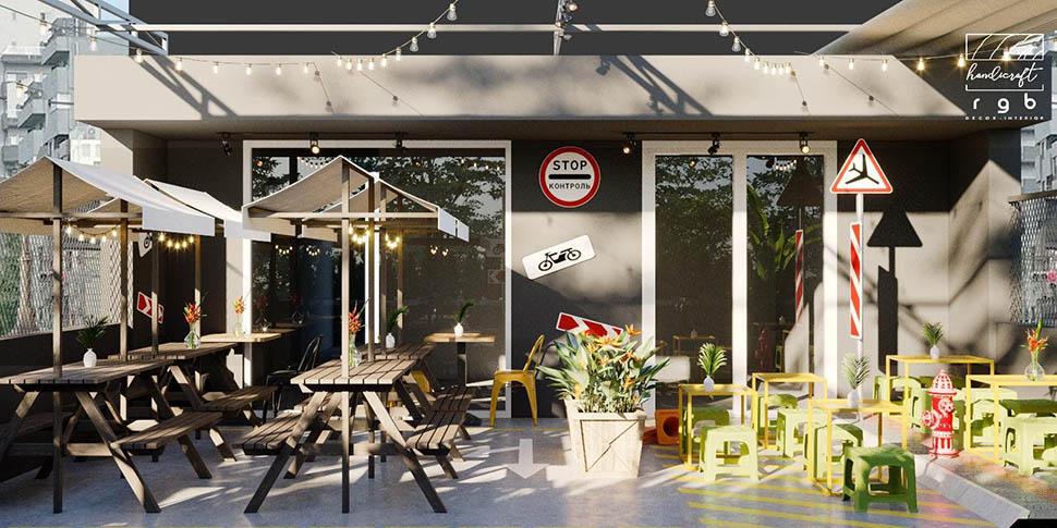 Không gian gần gũi, mộc mạc của quán đồ ăn nhanh