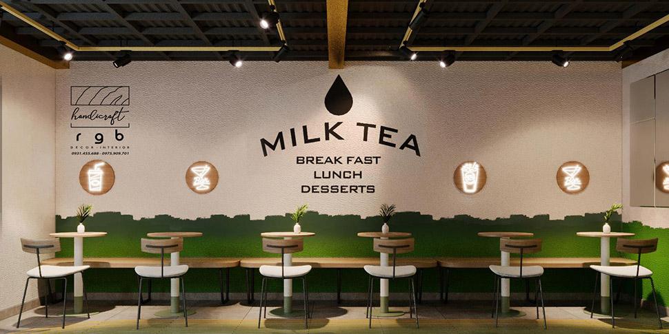 Trang trí quán trà sữa 2 tầng