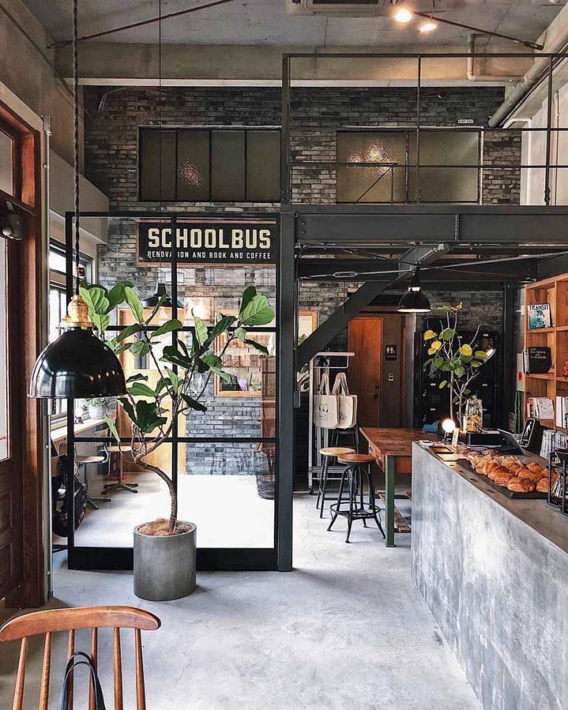 thiết kế quán cafe có gác lửng