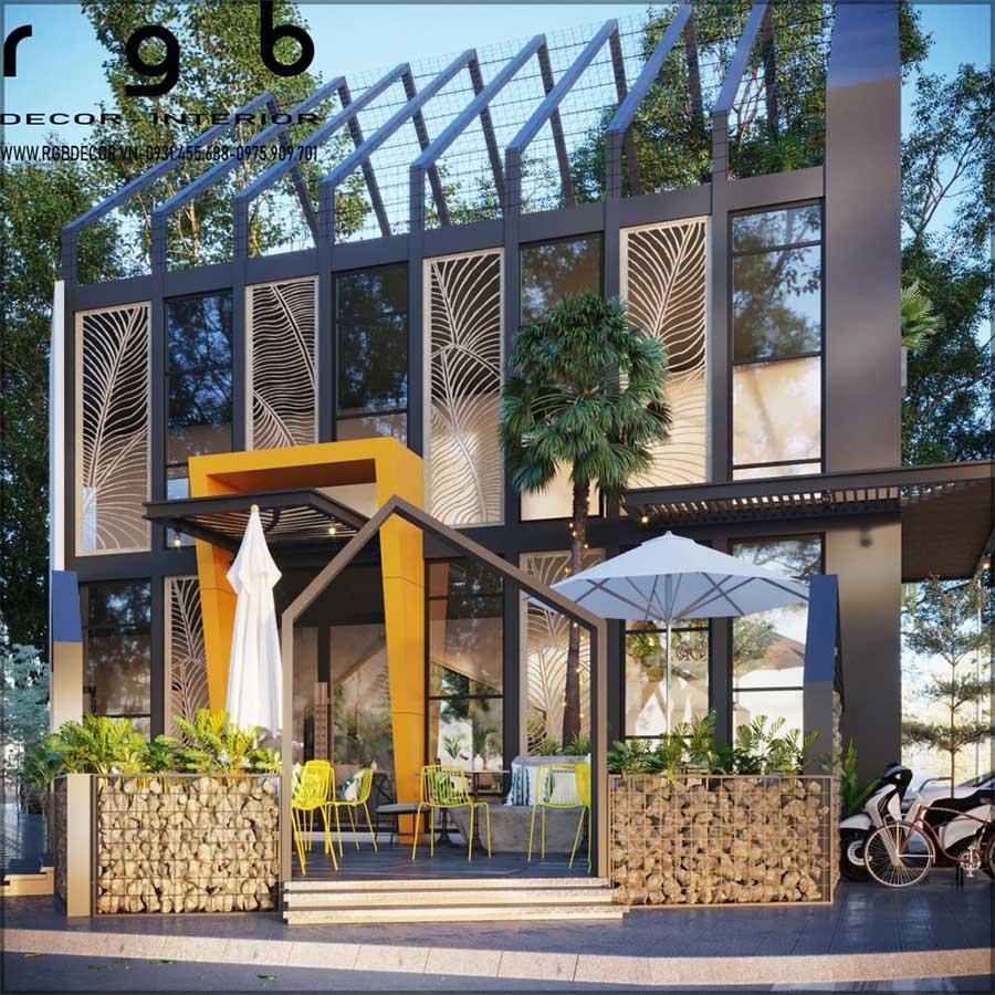 không gian quán cafe ngoài trời