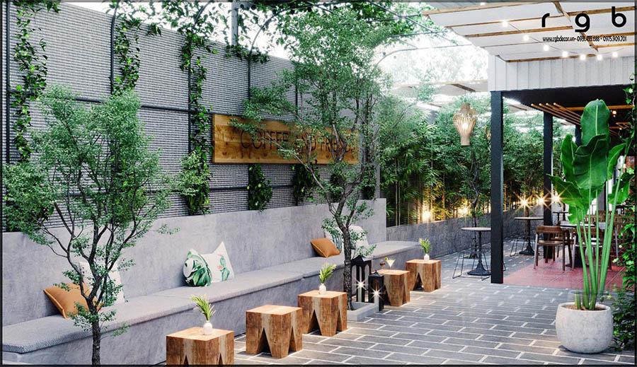quán cafe ngoài trời được thiết kế đơn giản