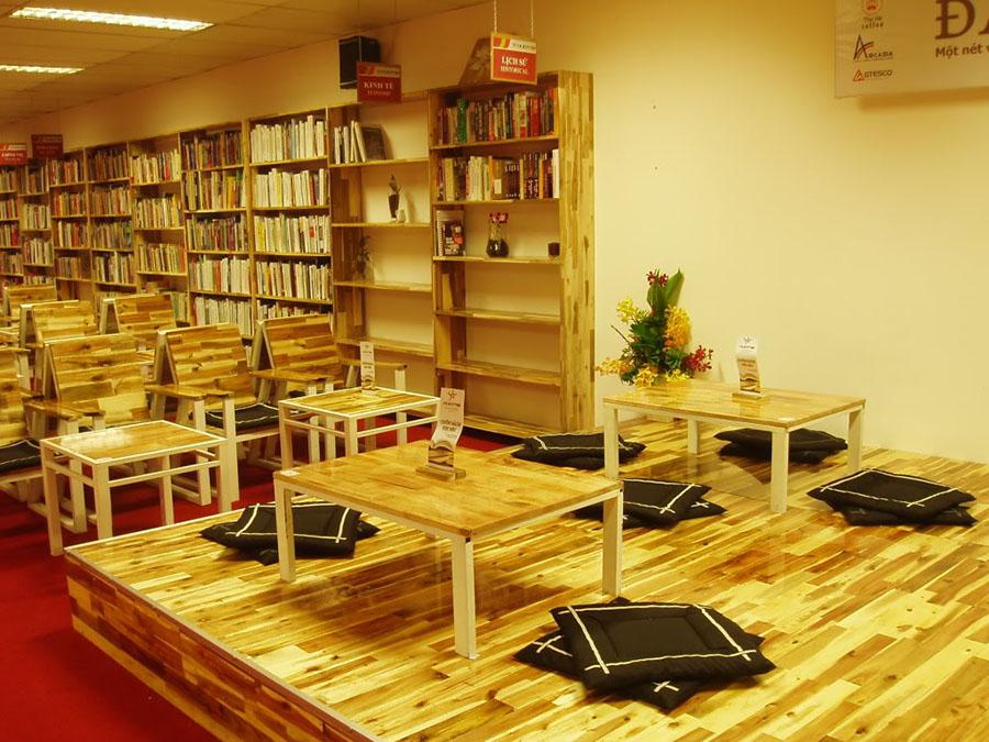 thiết kế quán cafe sinh viên sách