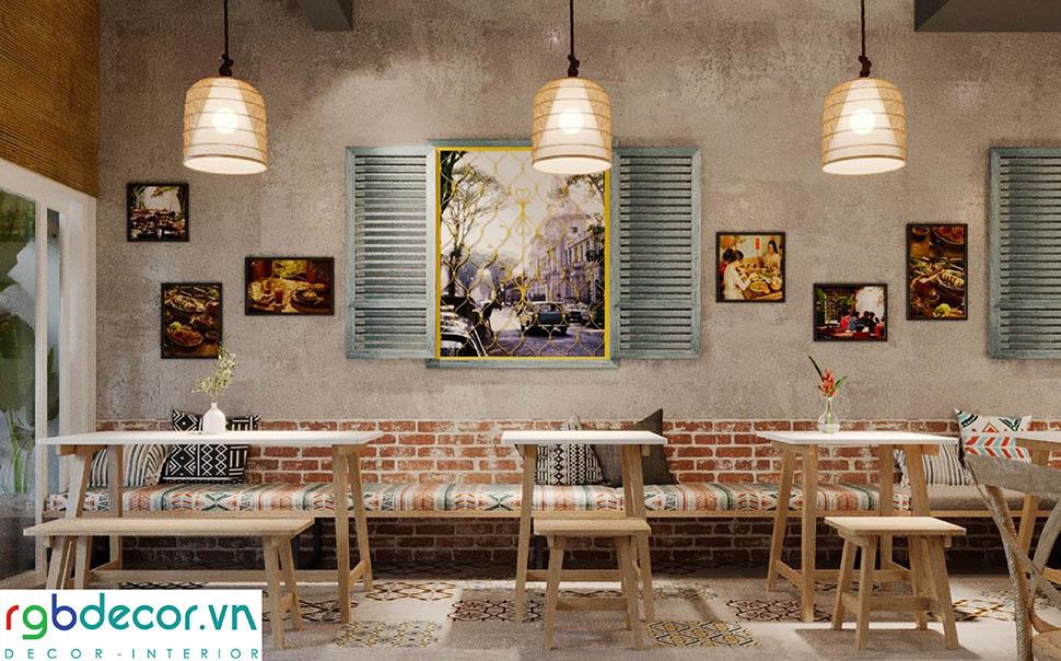 Nội thất đơn giản sử dụng những đặc trưng của kiến trúc truyền thống Việt Nam
