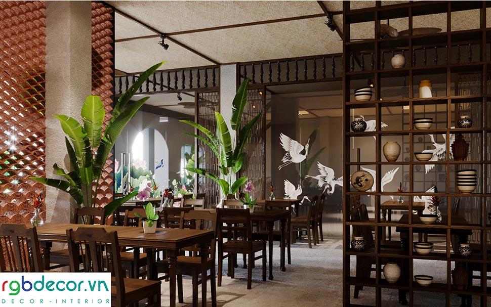 Không gian nội thất nhà hàng nam bộ