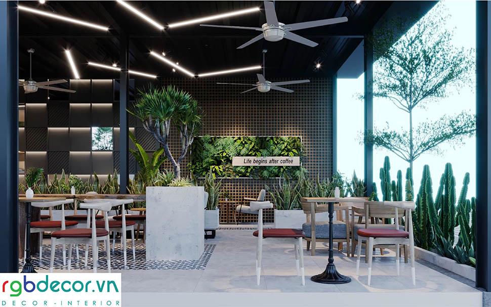 thiết kế cây xanh quán cafe