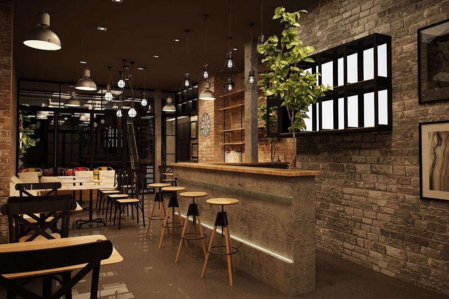 Quán cafe phong cách công nghiệp