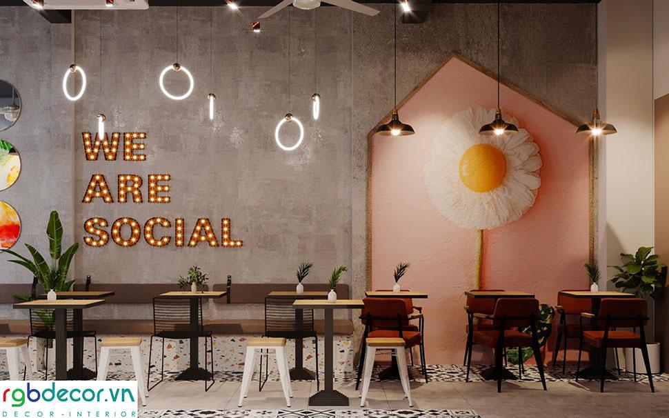 Tone màu cam vàng được sử dụng chủ yếu trong mẫu thiết kế quán cafe