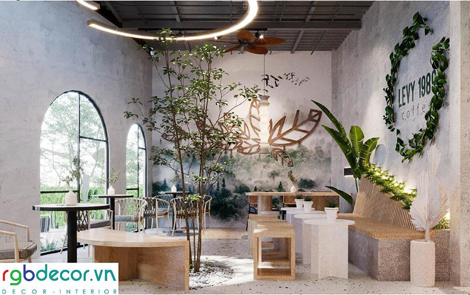 Quán cafe được thiết kế với cây xanh