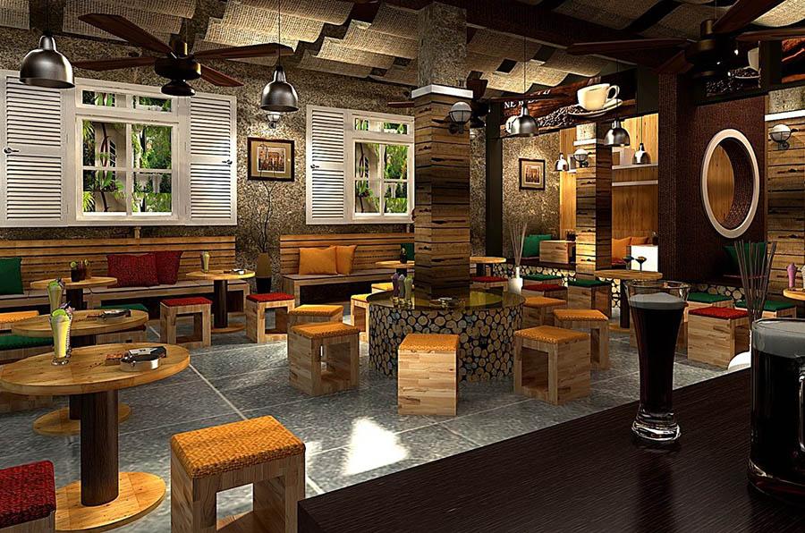 Thiết kế quán cafe gỗ mộc ấm áp