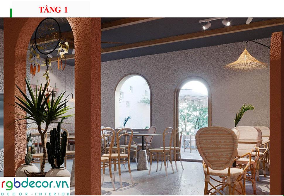 thiết kế ánh sáng quán cafe view đẹp