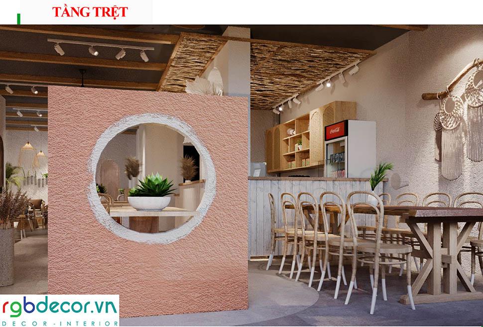 thiết kế quán cafe màu sắc hài hòa