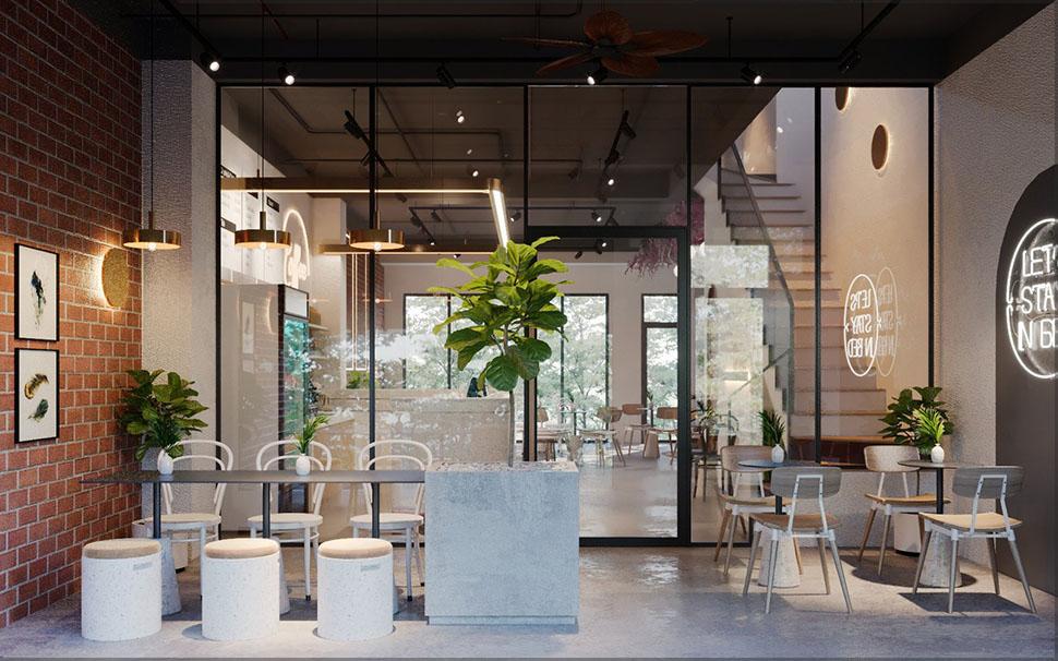 Nội thất đơn giản quán cafe diện tích nhỏ