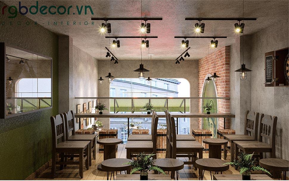 không gian quán cafe phong cách retro