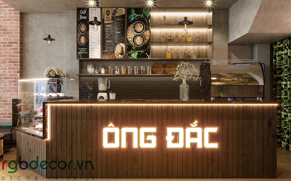 Quầy bar quán cafe phong cách retro